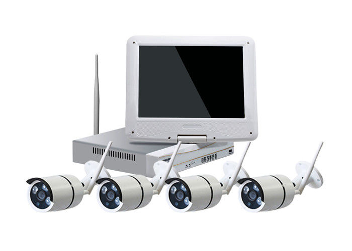10 Inch LCD WiFi Camera Kit CCTV, IR Bullet 4 Camera Security System Max 4TB HDD