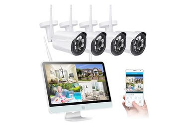 720P 4 saluran WiFi Kamera CCTV Kit 30 Meter IR Rentang Real Time Remote Monitoring